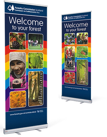 Pull up banners designed by Lunaria Ltd.